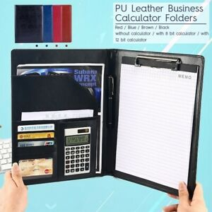 Business Document Bag Leather A4 Conference Folder With Calculator Clipboard