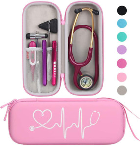 Travel Carrying Case For 3m Littmann Classic Iii Lightweight Pu Leather Pink