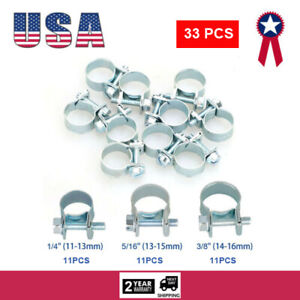 33pcs 1 4 5 16 3 8 Fuel Injection Gas Line Hose Clamps Clip Pipe Clamp Metal