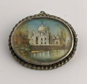 Antique Indian Silver Brooch With Exceptional Miniature Painting Of Taj Muhal