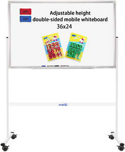 36 x24 Mobile Whiteboard On Stand For Children Double sided Rolling Whiteboar