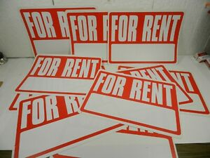 12 Signs For Rent Sign 8 x12 Plastic House Apartment Car Boat Write In Phone No