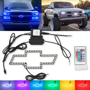For Chevy Bowtie Emblem Multi Color Change Led Shift Rgb Halo Ring Set Chevrolet