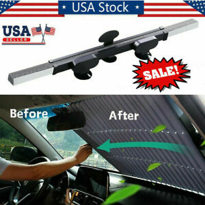 Front Car Retractable Windshield Sun Shade Visor Window Folding Block Cover