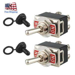 2pcs 6 pin Metal Copper Dpdt On on Toggle Switch Ac15a 250v W waterproof Boot Us