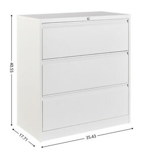 Metal Lateral File Cabinet W 3 Drawers Hanging Lateral White Storage Cabinet