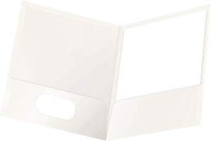 Oxford Laminated Twin pocket Folders Letter Size White Holds 100 Sheets Box