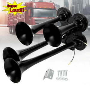 12v 24v 185db Quad 4 Trumpet Train Air Horn Car Truck Boat Compact Horn Speaker