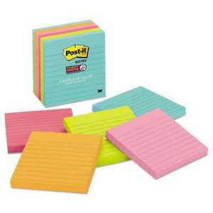 Post it Notes Super Sticky Pads In Miami Colors Lined 4 X 4 9 051125006255