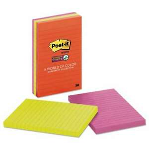 Post it Notes Super Sticky Pads In Marrakesh Colors Lined 4 X 021200531279