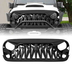 Front Grill Shark Grille Guard For 2007 18 Jeep Wrangler Jk Jku Abs Glossy Black