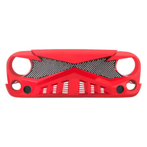 Front Red Hawke Grille With Mesh Insert For 2007 2018 Jeep Wrangler Jk Jku Abs