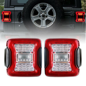 2pcs Led Tail Lights For 2018 2019 Jeep Wrangler Jl Break Reverse Turn Signal