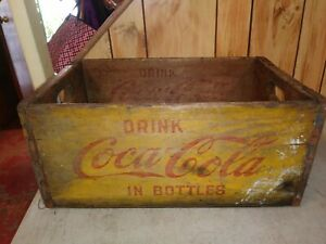 Old Yellow & Red Tall Drink Coca-Cola Wood Crate or Box for Coke Bottles
