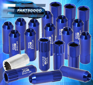For Nissan M12x1 25mm Locking Lug Nuts Wheels Extended Aluminum 20 Pcs Set Blue