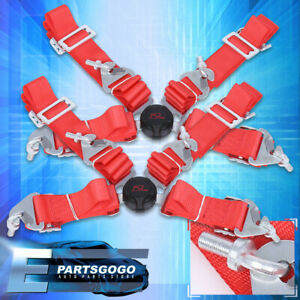 2x 4 Point 2 Quick Release Cam Lock Seat Belt Harness Road Racing Nylon Red Jdm