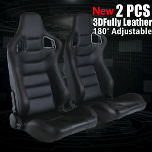 1 Pair Reclinable Tan Racing Seats W 2 Sliders Sport Bucket Faux Leather Chair