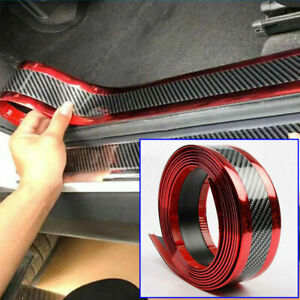 Car Sticker Carbon Fiber Door Sill Edge Guard Protector Diy Strip 7cm 100cm Red