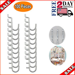 Metal Pegboard Hooks Hook J Style For Board Tool Organizer 100 Pieces