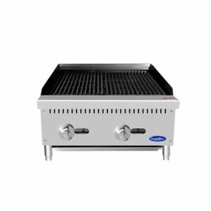 24 Char rock Broiler Grill Natural Gas Lava Rocks Included 2 Foot Wide Nsf