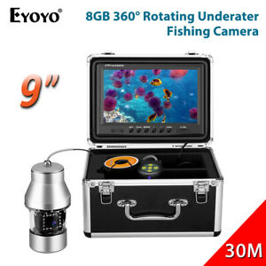 360° Underwater Fishing Camera 9 Inch 30M 8GB Fish Finder 18pcs Infrared Lights