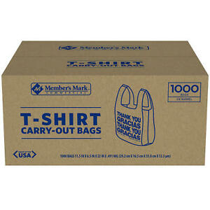 T shirt Thank You Plastic Grocery Store Shopping Carry Out Bag 1000ct sale