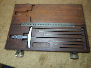 Older Brown And Sharpe Depth Micrometer With Case And Some Rods Machinist Tool