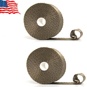 2roll Titanium Header Turbo Pipe Manifold Exhaust Heat Wrap Tape1 X35ft 6 Ties