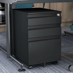 Metal File Cabinet W lock Mobile Filing Lateral Cabinet With 3 Storage Drawers