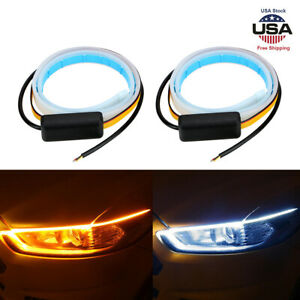 2pcs 60cm Led Light Slim Amber Sequential Flexible Turn Signal Strip Headlight