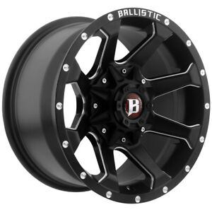 4 ballistic 971 Hawk 20x9 6x135 6x5 5 12mm Black milled Wheels Rims