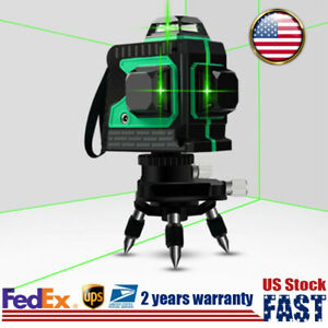 12 Line Laser Level Horizontal Vertical Cross Measure Auto Leveling 360 Stock
