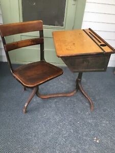 Vintage Child School Desk Attached Swivel Chair Wood Iron St Raphael S Madison