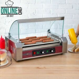 18 Hot Dog Roller Grill With 7 Rollers Sneeze Guard Slanted 110 Volts 1200 Watts