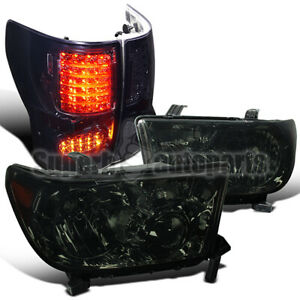 For 2007 2013 Toyota Tundra Replacement Headlights Smoke tinted Led Tail Lamps