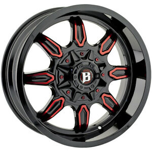 4 ballistic 670 20x9 6x135 6x5 5 12mm Black red Wheels Rims 20 Inch