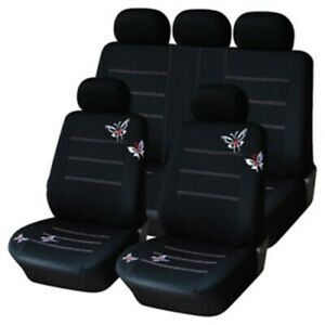 Car Seat Covers Polyester Fabric Fashion Butterfly Embroidery Full Set Universal