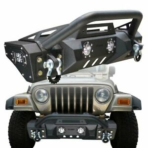 Front Bumper Black Textured With Winch Plate For 1987 2006 Jeep Wrangler Yj tj