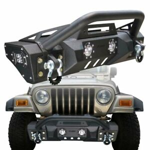 Front Bumper Black Textured With Winch Plate For 1997 2006 Jeep Wrangler Tj