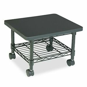 Printer Fax Stand Low profile Fixed Steel Wire Shelf Under Desk Cart black
