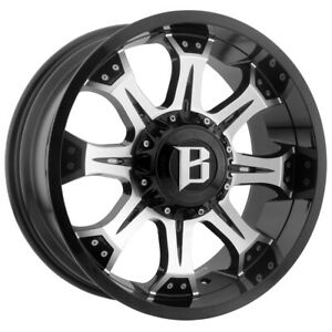 4 ballistic 974 Komodo 20x9 5x135 5x5 5 0mm Black machined Wheels Rims