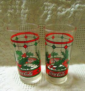 2 Coca-Cola Drinking Glass With Stained Glass Design
