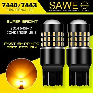 2x Sawe 7443 7440 Led Amber Yellow Rear Turn Signal Blinker Parking Light Bulbs