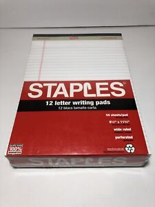 New Staples 12 Count Letter Writing Pads 50 Sheets Pad 8 5 X 11 75 Wide Ruled