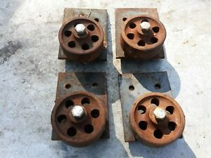 Lot Of 4 Vintage Cast Iron Casters Ind Machine Age Steampunk