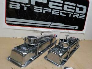 Spectre 54083 Small Block Chevy Sbc Chrome Kit Valve Covers Chrome Breathers