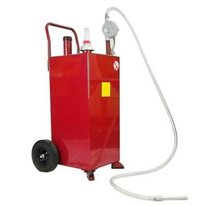 30 Gallon Portable Fuel Transfer Gas Can Caddy Storage Gasoline Tank Red