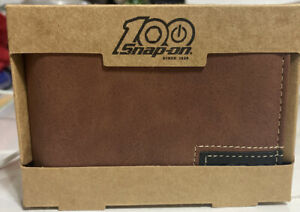 Snap on Tools 100th Anniversary Brown Bi fold Wallet Money Clip New In Box