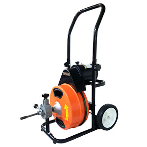 Electric Sewer Machine 75 x1 2 Drain Cleaner Auger Power Feed 5 Cutters