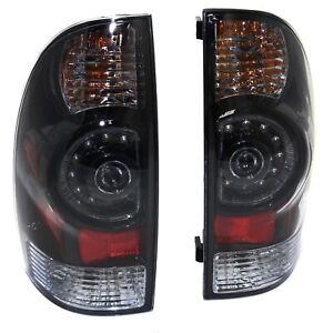 Pair Led Tail Light For 2005 2013 Toyota Tacoma Lh Rh Black Bezel Clear Lens